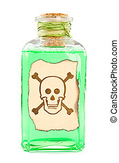 bottle with a green toxic chemical solution