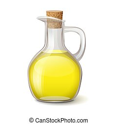 Glass bottle with bright yellow oil and wooden bung