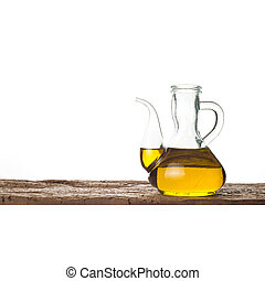 Glass bottle with extra olive oil isolated