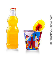 Glass bottle with juice and a glass of cocktail