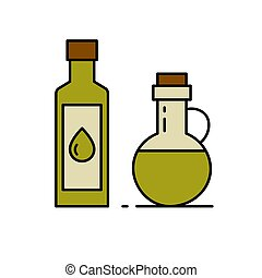 Glass bottle with oil.