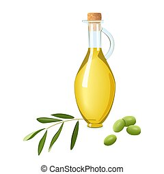 Glass bottle with olive oil, immature green olives, branch and leaf. Card template text. Oilplant oilbearing crop for cooking, energy industry, salad dressing, cosmetics, pharmaceuticals, perfume