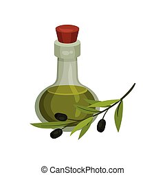 Glass bottle with olive oil. Vector illustration on white background.