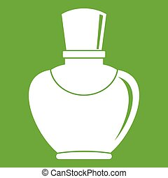 Glass bottle with perfume icon green