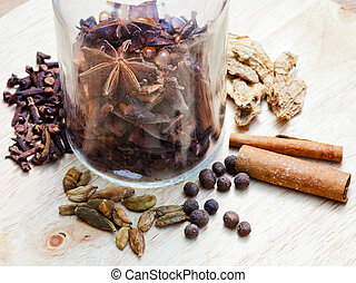 glass bottle with spices - glass bottle and spices for ...