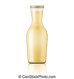 Glass bottle with wide neck. - Transparent glass bottle with...