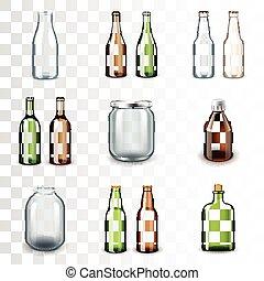 Glass bottles icons vector set