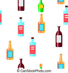 Glass Bottles Linear Seamless Pattern