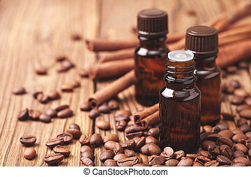 essential oils - Glass bottles with essential oils of coffee...
