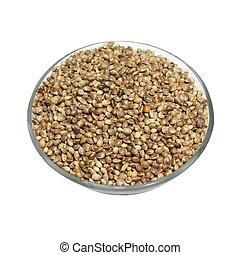 bowl full of hemp seeds isolated