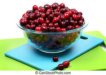 Glass Bowl of Fresh Raw Cranberries