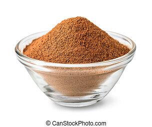 Glass bowl of ground cinnamon