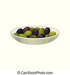 Glass bowl of pickled black and green olives vector Illustration
