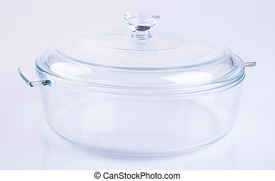 glass bowl or glass cooking pot on background.