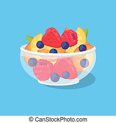 Glass Bowl with Fruit and Berries
