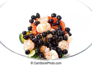 Glass Bowl With Shrimps Salad