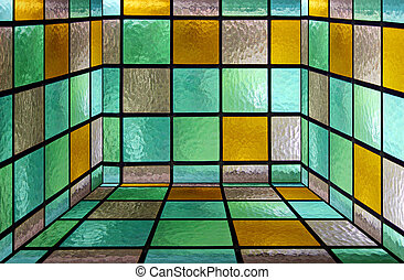 Glass box - Inside of a square box made from decorative...