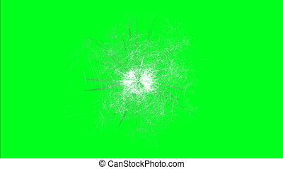 Glass break on green screen