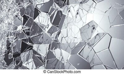 glass breaking and shatter in slow motion. Alpha matte