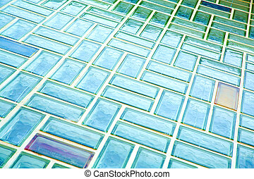 A glass brick wall background. Architecture exterior.