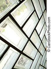 A glass brick wall background. Architecture interior.