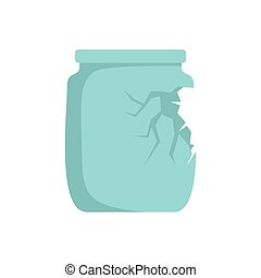 Glass broken jar icon, flat style