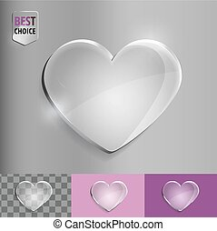 Glass bubble love heart icon with soft shadow on gradient background . Vector illustration EPS 10 for web.