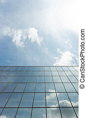 Glass Building Exterior Reflection Clouds Up