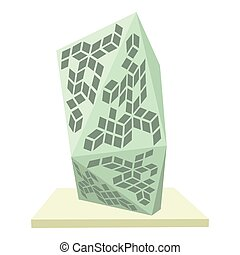 Glass building icon, cartoon style