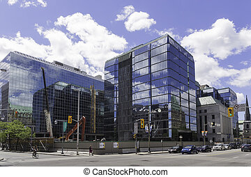 Glass building on a sunny day with