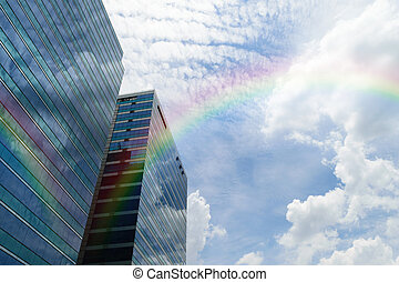 Glass building with rainbow