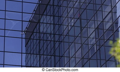 Glass business building