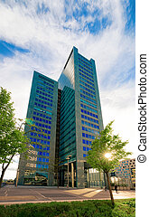 Glass Business office building architecture of Modern City in Vienna