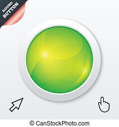 Glass button. Green shiny round symbol. Circle.