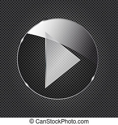 Glass button icon on metal background. Vector illustration