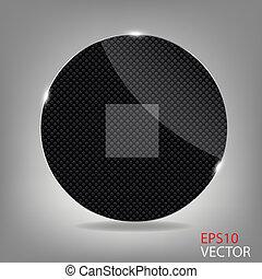 Glass button media icon. Vector illustration