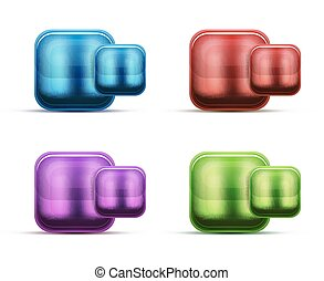 Glass buttons and icons. Vector isolated symbols