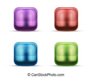 Glass buttons and icons