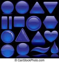 Glass Buttons - Blue Pack - glass shapes