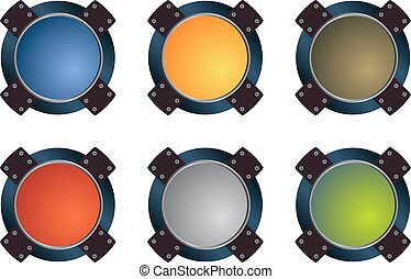 Glass buttons - Colorful glass buttons vector pack