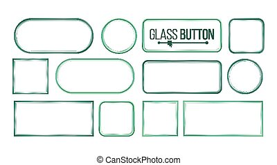 Glass Buttons, Frames Vector. Square, Round, Rectangular. Glass Plates Elements. Realistic Plates. Plastic Banners. Isolated On White Background Illustration
