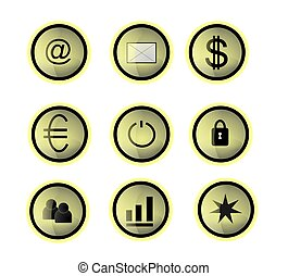 Glass buttons - Nine different icons in the round light ...