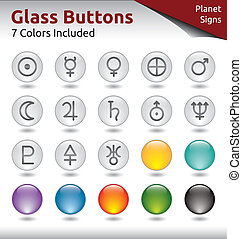 Glass Buttons - Planet Signs