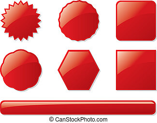 glass buttons red - Collection of seven buttons all in blood...