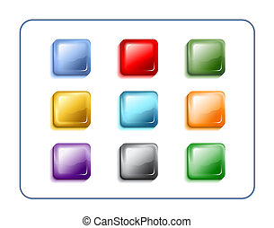 Glass Buttons With Clipping Paths - Rectangular glass ...