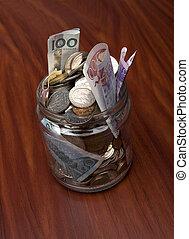 Swedish money - Glass can with Swedish money