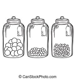 Glass candy jar  - Hand drawn outline doodle glass candy jar