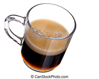 glass cap coffee with foam on white background