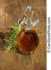 Glass carafe of olive oil