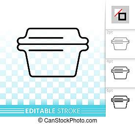 Glass Casserole simple black line vector icon - Glass...
